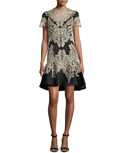 Short-Sleeve Beaded Flared Cocktail Dress, Black