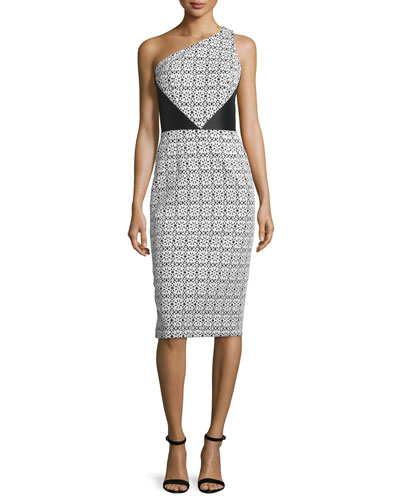 One-Shoulder Mixed-Pattern Sheath Dress