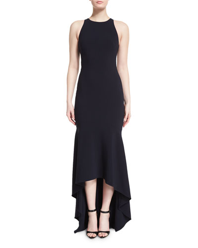 Sleeveless Open-Back High-Low Gown, Midnight