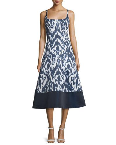 Sleeveless Ikat Fit & Flare Midi Dress