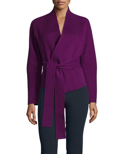 Long-Sleeve Cashmere Wrap Top, Cyclamen