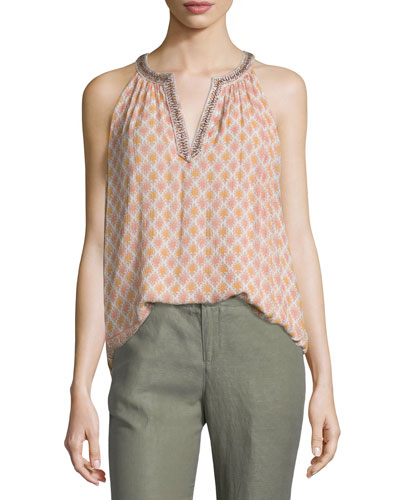 Feistner Crinkle Floral-Print Sleeveless Top
