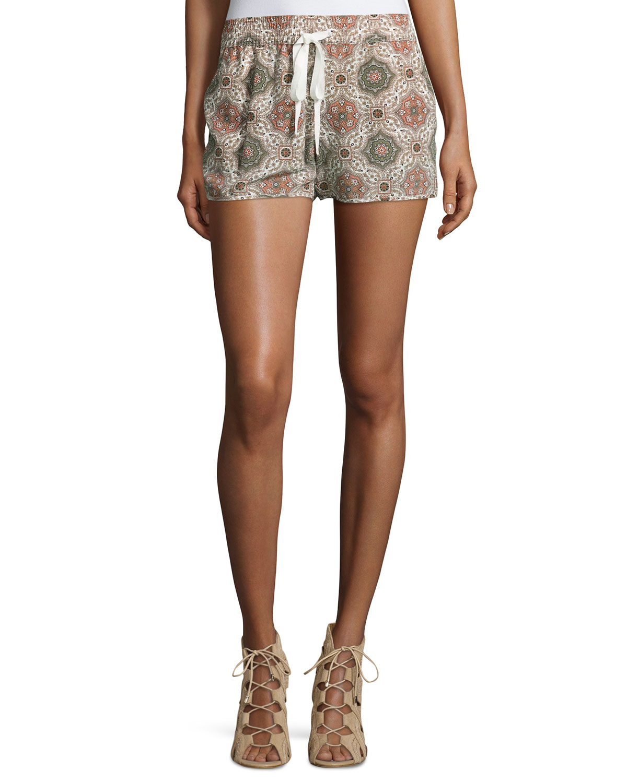 Layana Tile-Printed Silk Shorts