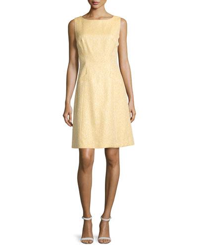 Sleeveless Bateau-Neck Shimmery Dress, Gold