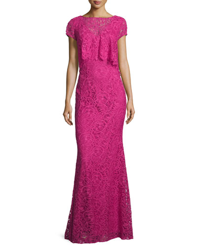 Cap-Sleeve Popover Lace Gown, Passion Fruit