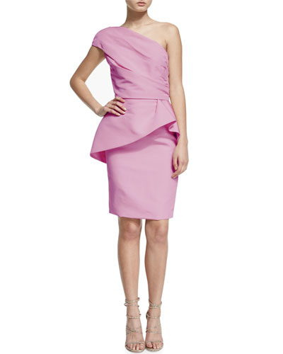 One-Shoulder Peplum Cocktail Dress, Blush