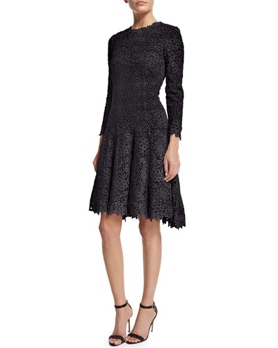 3/4-Sleeve Jewel-Neck Lace Dress, Midnight