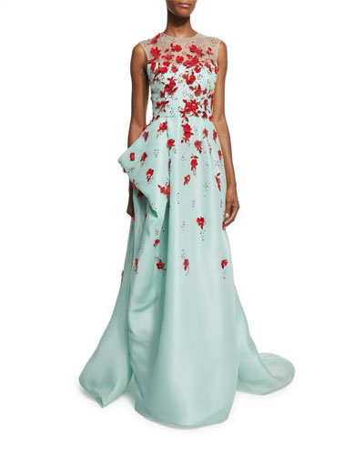 Sleeveless Draped Illusion Gown w/Contrast Floral Appliques, Seafoam