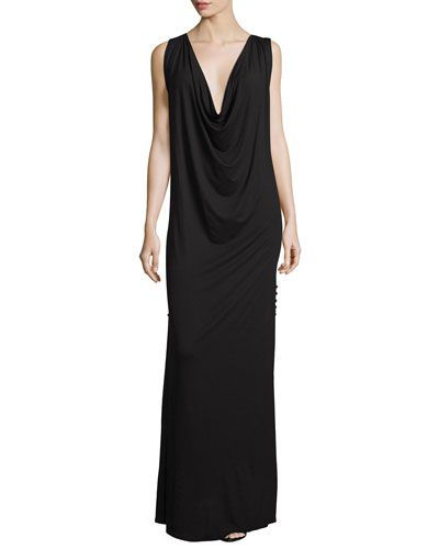The Claire Cowl-Neck Maxi Dress, Black