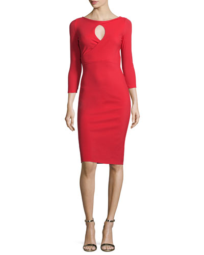 Tyra 3/4-Sleeve Keyhole Cocktail Dress
