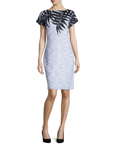 Santana Leaf-Print Cap-Sleeve Dress, Black/Bright White