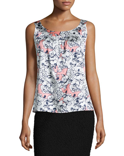 Airbrush Floral Sleeveless Blouse, Bright White/Nectar