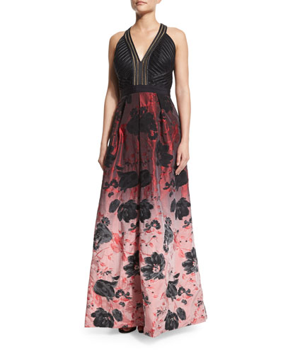 Sleeveless Floral Ombre Gown, Black/Crimson