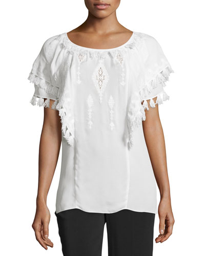 Short-Sleeve Embroidered Peasant Top, Ivory