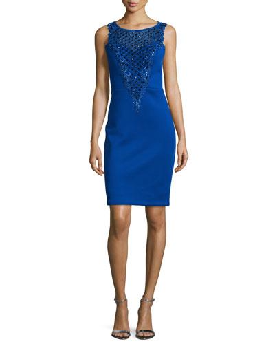 Embellished-Inset Sheath Dress, Cobalt