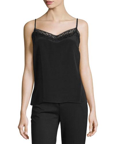 Luz Silk Camisole W/ Lace Trim, Black
