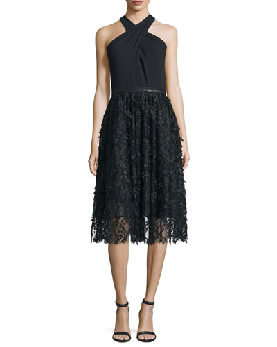 Halter Fit & Flare Lace Combo Dress