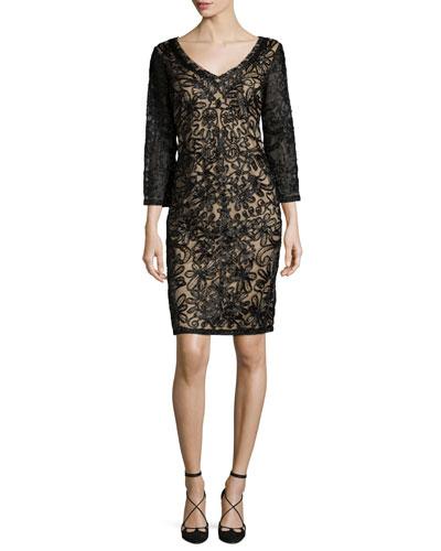 3/4-Sleeve Embroidered Sheath Dress, Black