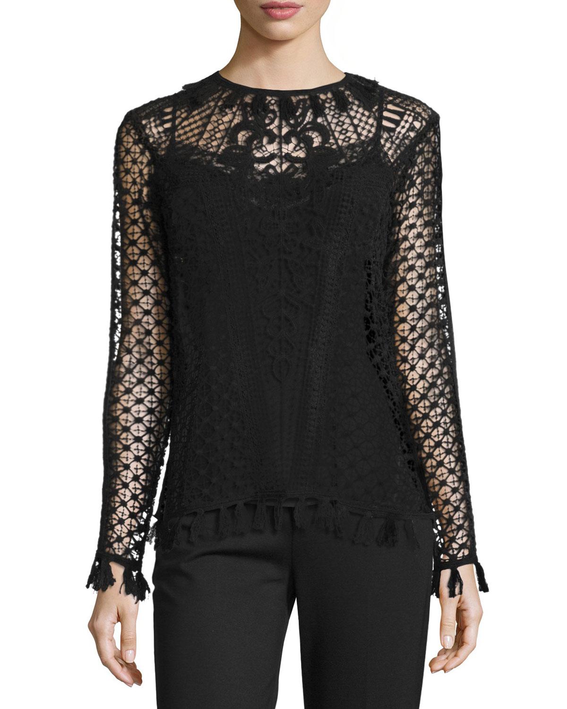 Crochet Lace Long-Sleeve Blouse