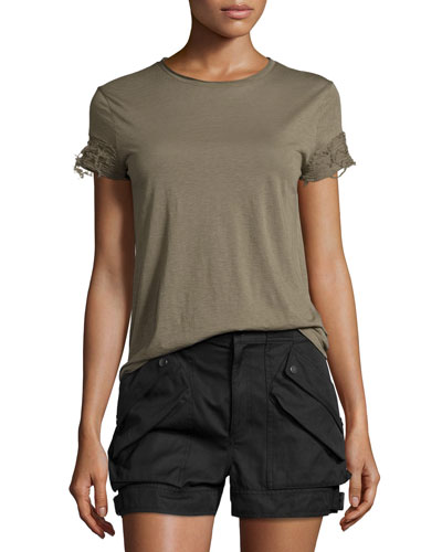 Distressed-Sleeve Jersey Tee, Army