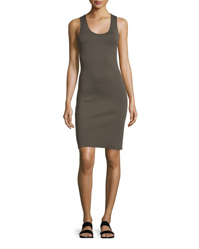 Neoprene Racerback Sheath Dress, Dark Pyrite