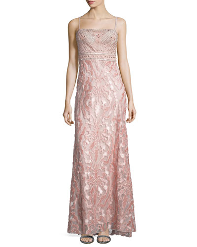 Embellished-Bodice Column Gown, Rose