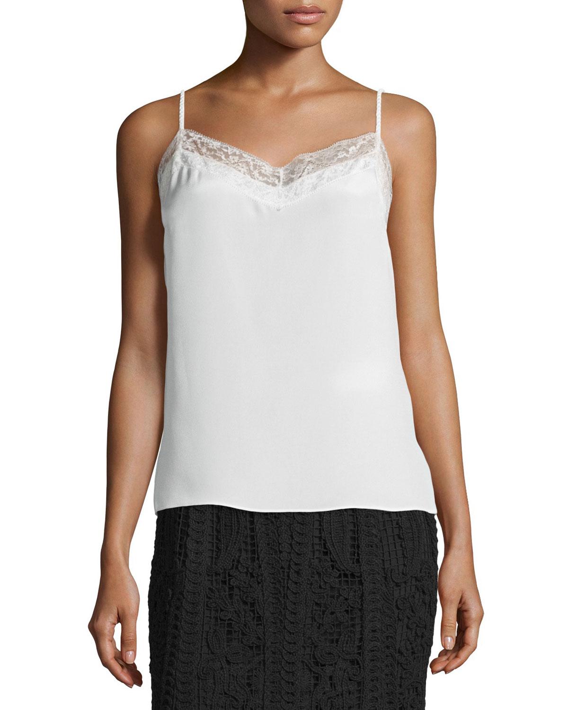 Luz Silk Camisole W/ Lace Trim