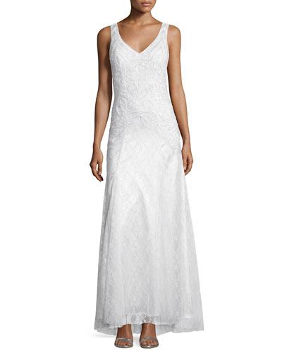 Sleeveless Embellished Mermaid Gown, White