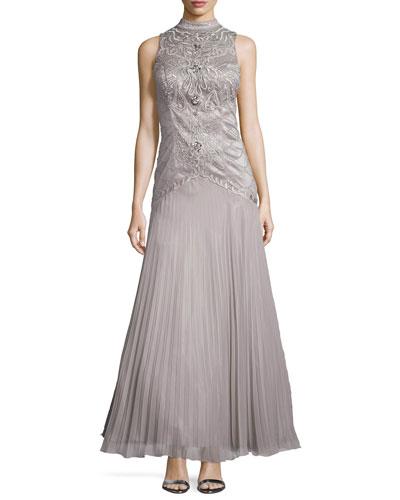 Sleeveless Mandarin-Collar Beaded Gown, Platinum