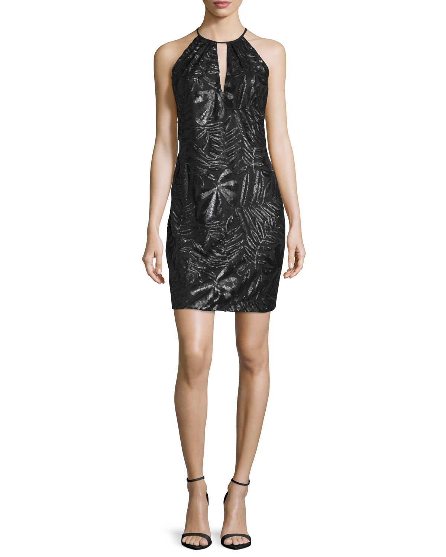Sleeveless Embroidered Sheath Cocktail Dress, Black