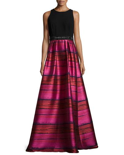 Sleeveless Crepe & Striped Taffeta Ball Gown, Fuchsia