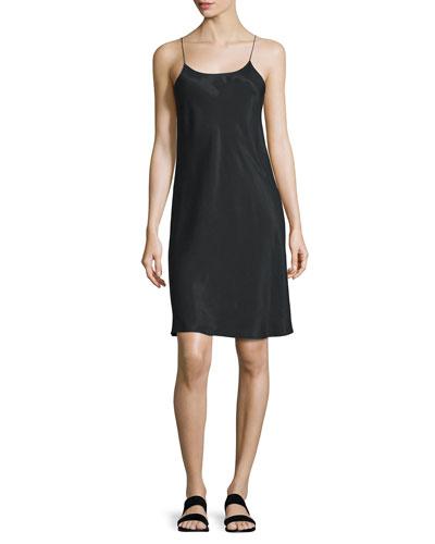 Sleeveless Voile Slip Dress, Black