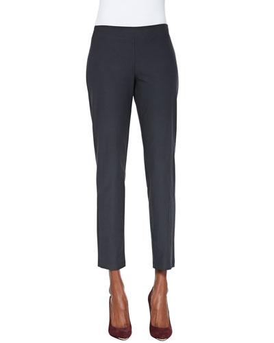 Washable Crepe Slim Ankle Pants, Plus Size, Graphite