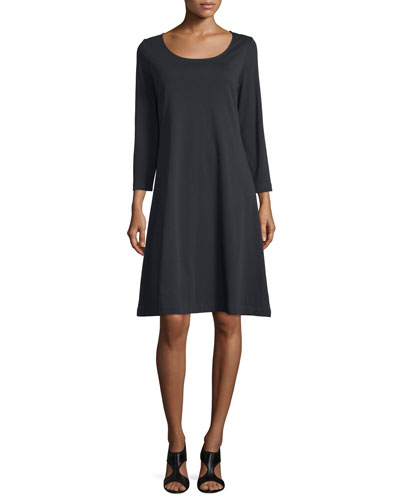 3/4-Sleeve Cotton Interlock A-line Dress, Black