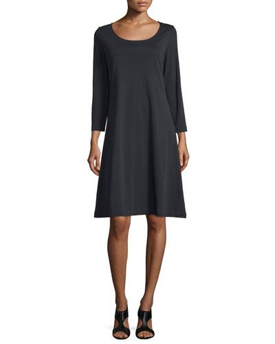 3/4-Sleeve Cotton Interlock A-line Dress, Black