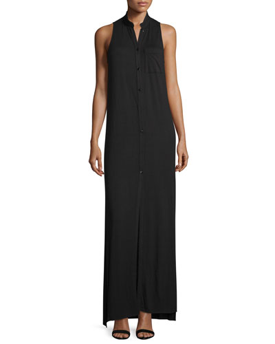 The Cady Button-Front Voile Maxi Dress, Black