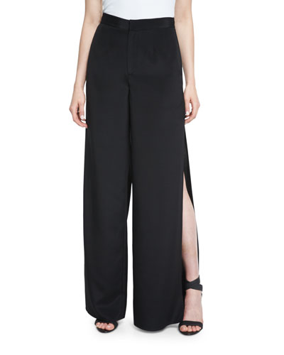 The Meadow Side-Slit Silk Pants, Black