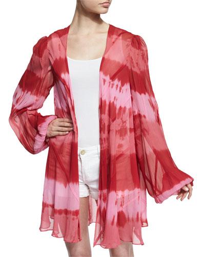 Short Tie-Dye Paneled Silk Cloak, Kozmic Reds