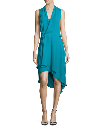 Sleeveless Faux-Wrap High-Low Dress, Teal Ocean