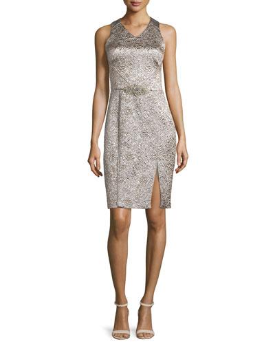 Sleeveless Shimmery Cocktail Dress, Platinum
