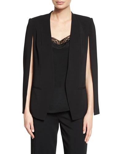 Cape-Sleeve Open-Front Blazer, Black