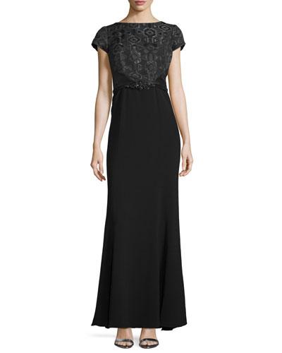 Cap-Sleeve Bateau-Neck Gown, Black