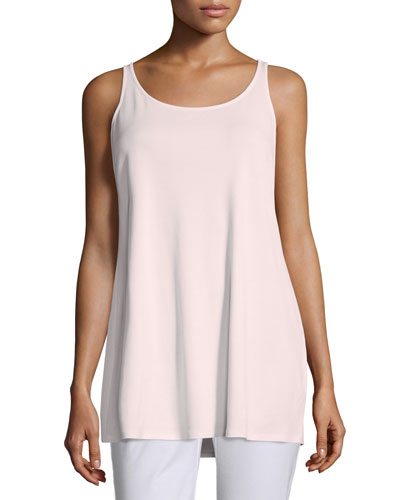 Sleeveless Long Silk Jersey Tank, Opal, Plus Size