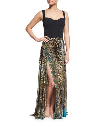 Printed Beaded High-Slit Coverup Skirt