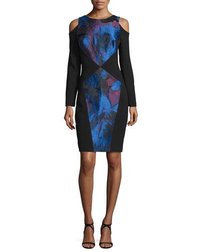 Long-Sleeve Colorblock Dress, Cerulean