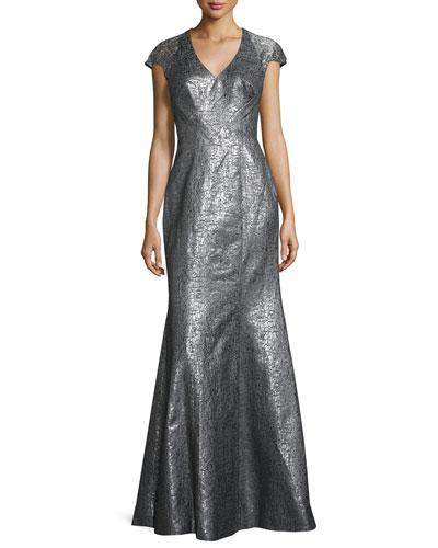 Cap-Sleeve Metallic High-Slit Gown