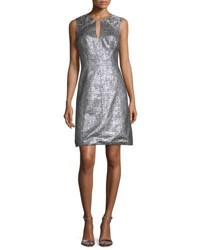 Sleeveless Crackled Jacquard Fit & Flare Dress, Silver