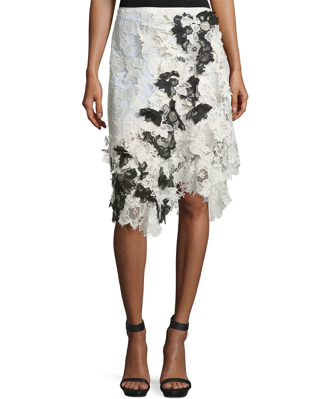 Asymmetric Draped Lace Skirt, Ivory/Black