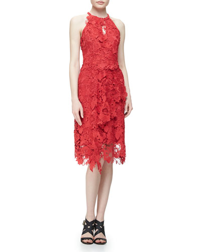 Jade Halter-Neck Blossom-Lace Dress, Crimson