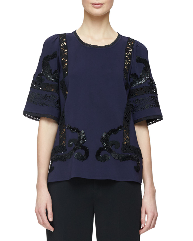 Short-Sleeve Embellished Blouse W/Lace Inset, Navy